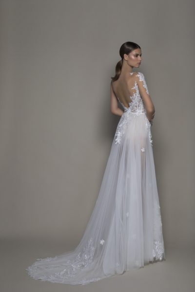 Illusion Sequined Floral Applique Long Sleeve A-line Wedding Dress With Tulle Skirt And Bateau Neckline by Pnina Tornai - Image 2