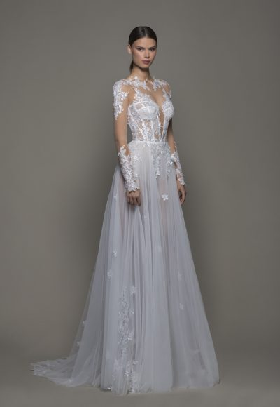 Illusion Sequined Floral Applique Long Sleeve A-line Wedding Dress With Tulle Skirt And Bateau Neckline by Pnina Tornai