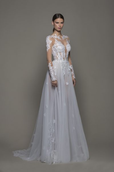 Illusion Sequined Floral Applique Long Sleeve A-line Wedding Dress With Tulle Skirt And Bateau Neckline by Pnina Tornai - Image 1