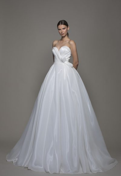 Liquid Organza Strapless Sweetheart Neckline Ball Gown Wedding Dress by Pnina Tornai