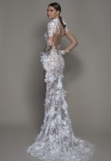 Long Sleeved High Neck Illusion Lace Sheath Wedding Dress With Slit by Pnina Tornai - Image 2