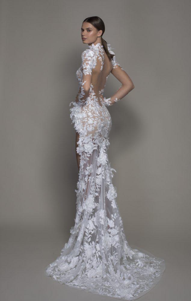 Long Sleeved High Neck Illusion Lace Sheath Wedding Dress With Slit - Image 2