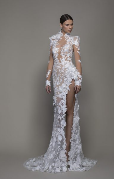 Long Sleeved High Neck Illusion Lace Sheath Wedding Dress With Slit by Pnina Tornai - Image 1