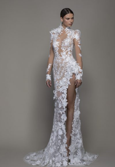 Long Sleeved High Neck Illusion Lace Sheath Wedding Dress With Slit by Pnina Tornai