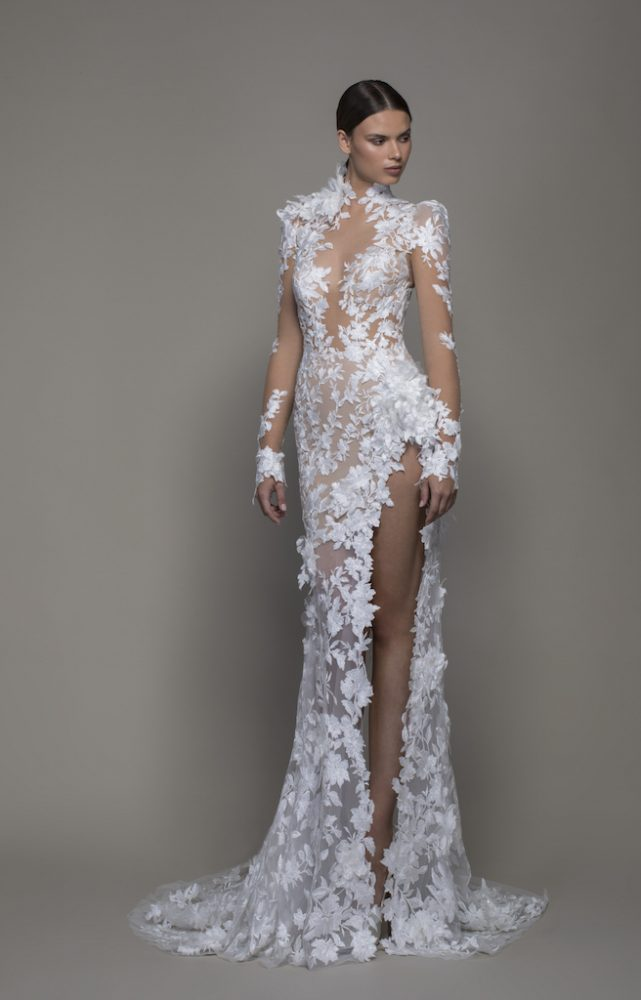 Long Sleeved High Neck Illusion Lace Sheath Wedding Dress With Slit - Image 1