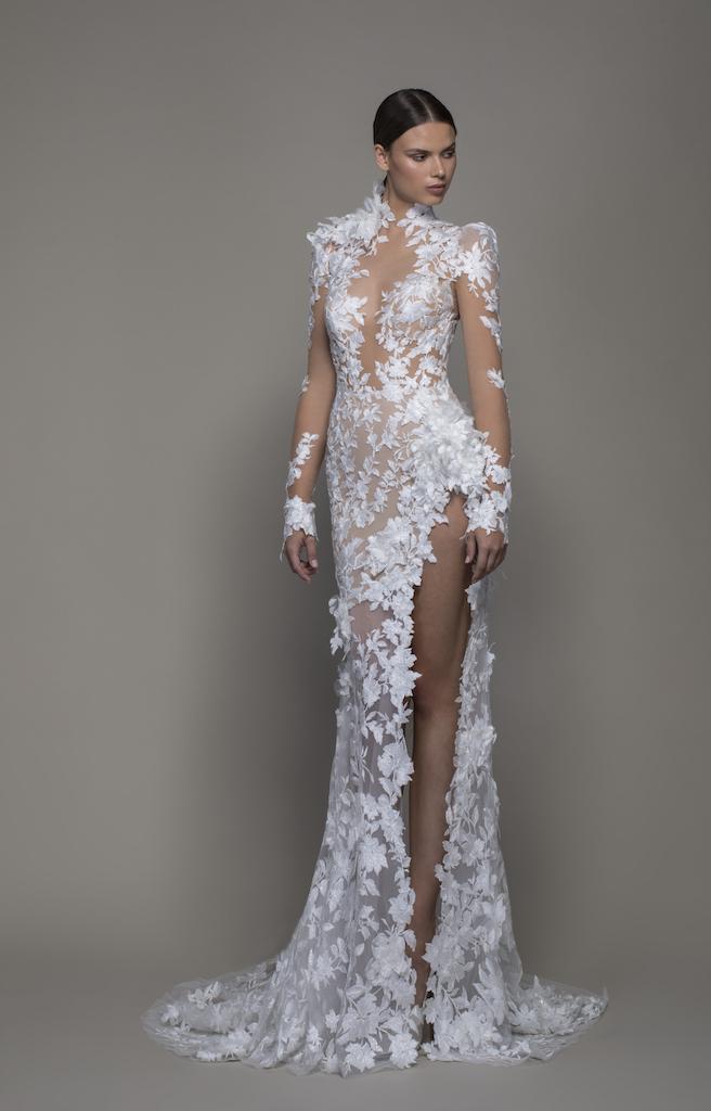Long Sleeved High Neck Illusion Lace Sheath Wedding Dress
