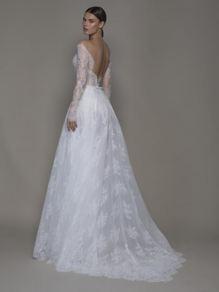 Off-the-shoulder Lace A-line Wedding Dress With Illusion Long Sleeves by Pnina Tornai - Image 2