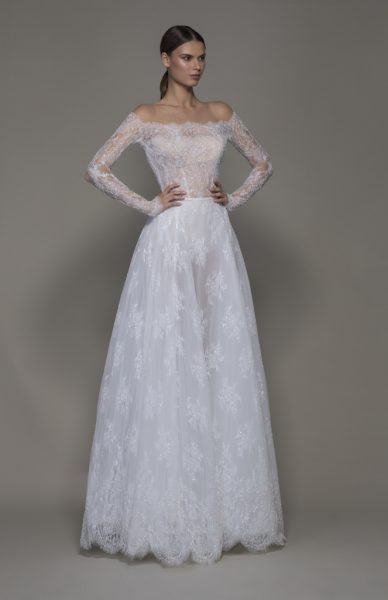 Off-the-shoulder Lace A-line Wedding Dress With Illusion Long Sleeves by Pnina Tornai - Image 1