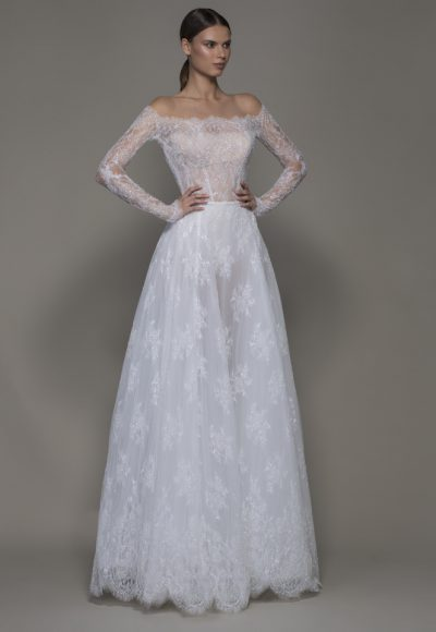 Off-the-shoulder Lace A-line Wedding Dress With Illusion Long Sleeves by Pnina Tornai