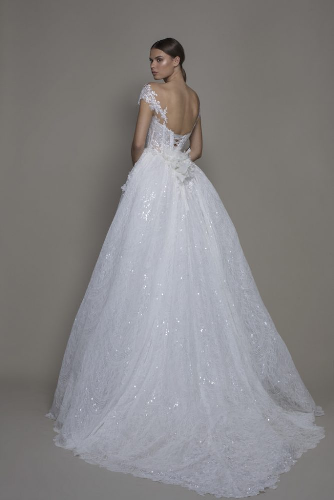 Off-the-shoulder Lace Ball Gown Wedding Dress With Basque Waist by Pnina Tornai - Image 2