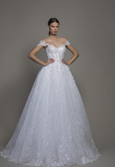 Off-the-shoulder Lace Ball Gown Wedding Dress With Basque Waist by Pnina Tornai