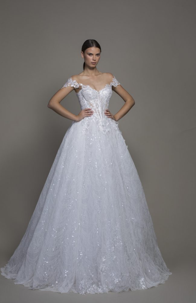 Off-the-shoulder Lace Ball Gown Wedding Dress With Basque Waist by Pnina Tornai - Image 1