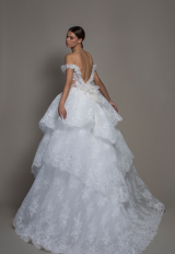 Off-the-shoulder Lace Ball Gown Wedding Dress With Tiered Skirt by Pnina Tornai - Image 2