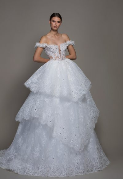 Off-the-shoulder Lace Ball Gown Wedding Dress With Tiered Skirt by Pnina Tornai