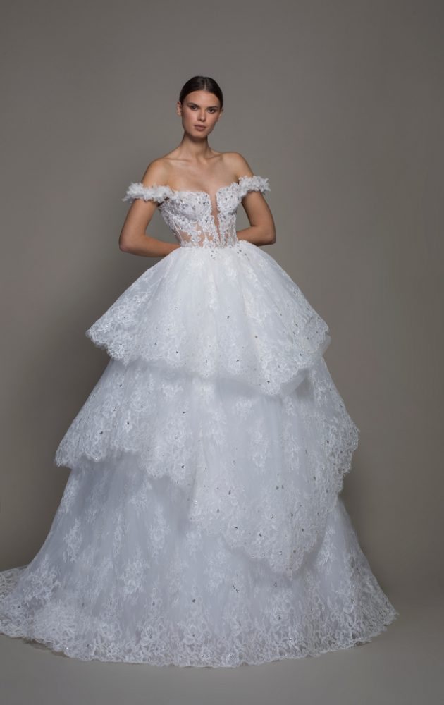 Off-the-shoulder Lace Ball Gown Wedding Dress With Tiered Skirt by Pnina Tornai - Image 1