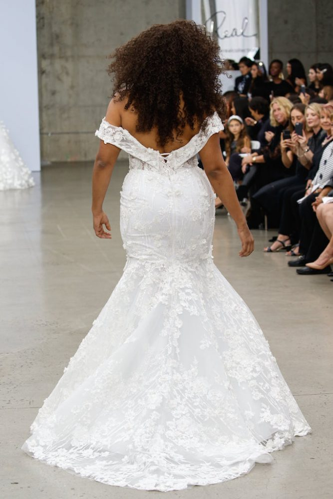 Off-the-shoulder Lace Mermaid Wedding Dress With Floral Appliqué by Pnina Tornai - Image 2