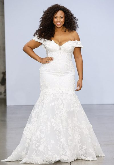 Off-the-shoulder Lace Mermaid Wedding Dress With Floral Appliqué by Pnina Tornai