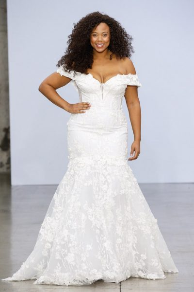 Off-the-shoulder Lace Mermaid Wedding Dress With Floral Appliqué by Pnina Tornai - Image 1