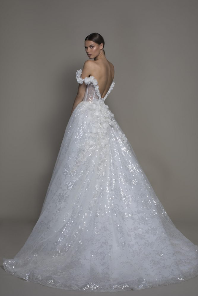 Off-the-shoulder Sequin Ball Gown Wedding Dress With Flowers And Sheer Bodice by Pnina Tornai - Image 2