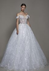Off-the-shoulder Sequin Ball Gown Wedding Dress With Flowers And Sheer Bodice by Pnina Tornai - Image 1