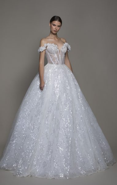Off The Shoulder Sequin Ball Gown Wedding Dress With Flowers And