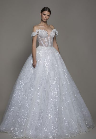 Off-the-shoulder Sequin Ball Gown Wedding Dress With Flowers And Sheer Bodice by Pnina Tornai