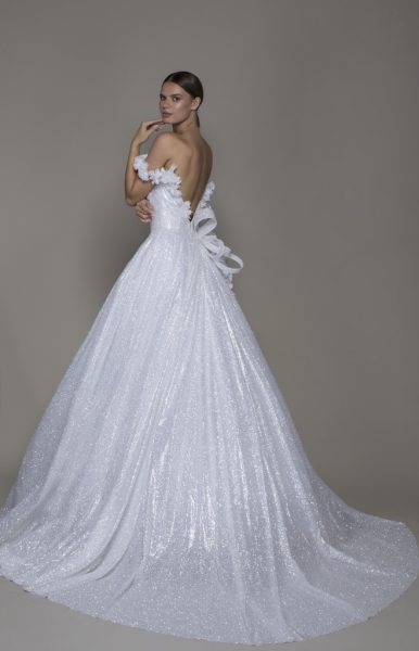 Off-the-shoulder Shimmer A-line Wedding Dress With Flowers by Pnina Tornai - Image 2