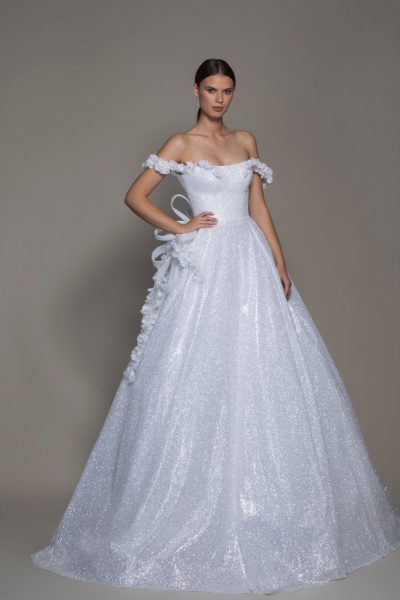 Off-the-shoulder Shimmer A-line Wedding Dress With Flowers by Pnina Tornai - Image 1