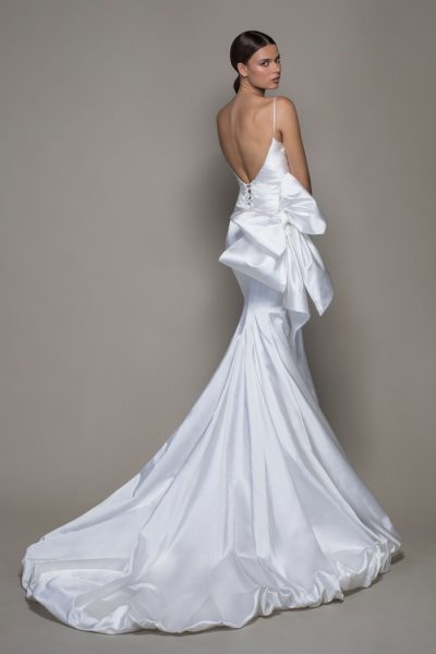 Off-the-shoulder Straight Neckline Satin Fit And Flare Wedding Dress With Bubble Hem by Pnina Tornai - Image 2