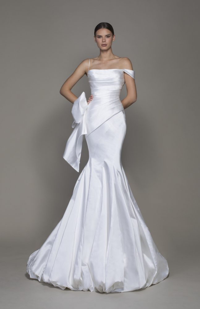 Off-the-shoulder Straight Neckline Satin Fit And Flare Wedding Dress With Bubble Hem by Pnina Tornai - Image 1