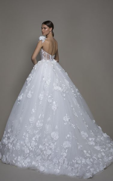 One-shoulder Tulle Ball Gown With Corseted Bodice And Flowers by Pnina Tornai - Image 2