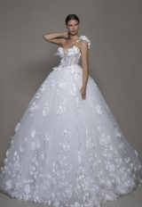 One-shoulder Tulle Ball Gown With Corseted Bodice And Flowers by Pnina Tornai - Image 1