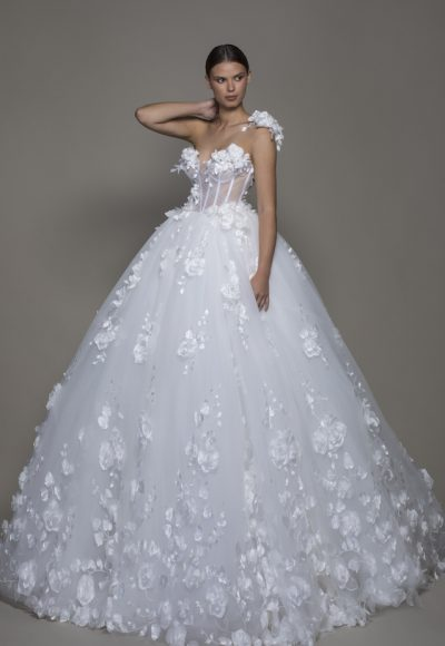 One-shoulder Tulle Ball Gown With Corseted Bodice And Flowers by Pnina Tornai