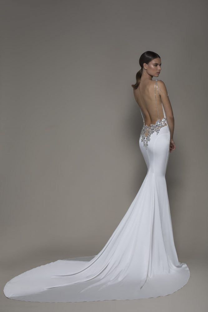 Sleeveless Crepe Sheath Wedding Dress With Cowl Neck And Crystals by Pnina Tornai - Image 2