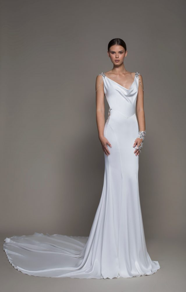 Sleeveless Crepe Sheath Wedding Dress With Cowl Neck And Crystals by Pnina Tornai - Image 1