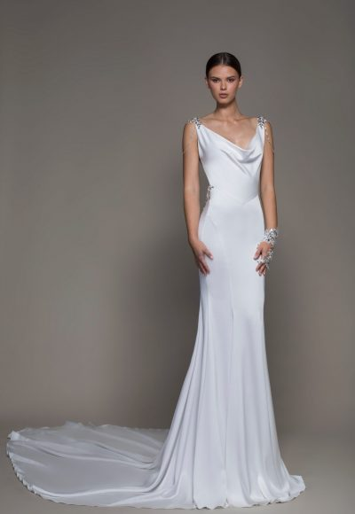 Sleeveless Crepe Sheath Wedding Dress With Cowl Neck And Crystals by Pnina Tornai