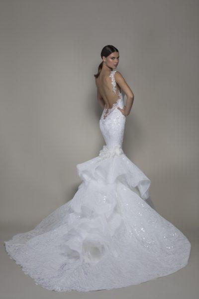 Sleeveless V-neckline Lace Mermaid Wedding Dress With Ruffle Skirt by Pnina Tornai - Image 2