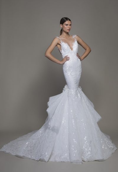 Sleeveless V-neckline Lace Mermaid Wedding Dress With Ruffle Skirt by Pnina Tornai