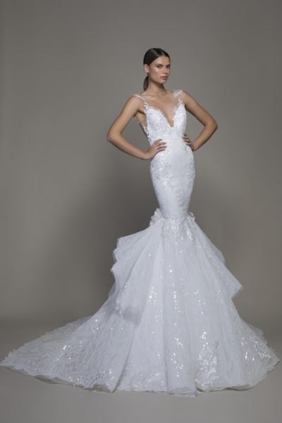 Sleeveless V-neckline Lace Mermaid Wedding Dress With Ruffle Skirt by Pnina Tornai - Image 1