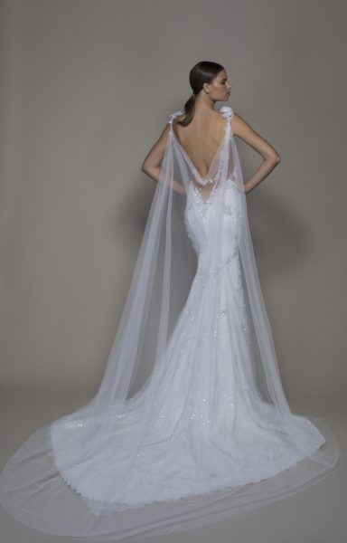Sleeveless V-neckline Lace Sheath Wedding Dress With Floral Appliques by Pnina Tornai - Image 2