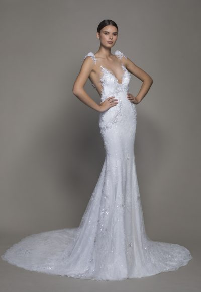 Sleeveless V-neckline Lace Sheath Wedding Dress With Floral Appliques by Pnina Tornai