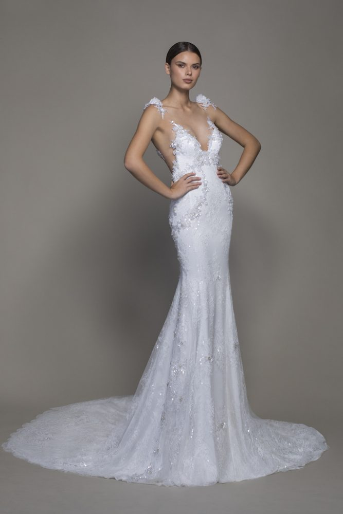 Sleeveless V-neckline Lace Sheath Wedding Dress With Floral Appliques by Pnina Tornai - Image 1