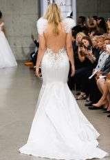 Sleeveless V-neckline Satin Fit And Flare Wedding Dress With Floral Appliqués And Ruffles At Shoulders by Pnina Tornai - Image 2