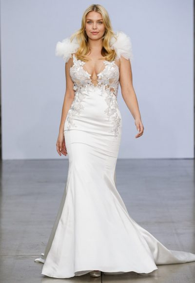 Sleeveless V-neckline Satin Fit And Flare Wedding Dress With Floral Appliqués And Ruffles At Shoulders by Pnina Tornai