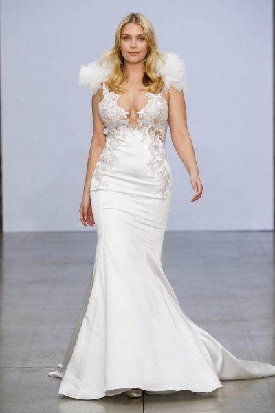 Sleeveless V-neckline Satin Fit And Flare Wedding Dress With Floral Appliqués And Ruffles At Shoulders by Pnina Tornai - Image 1