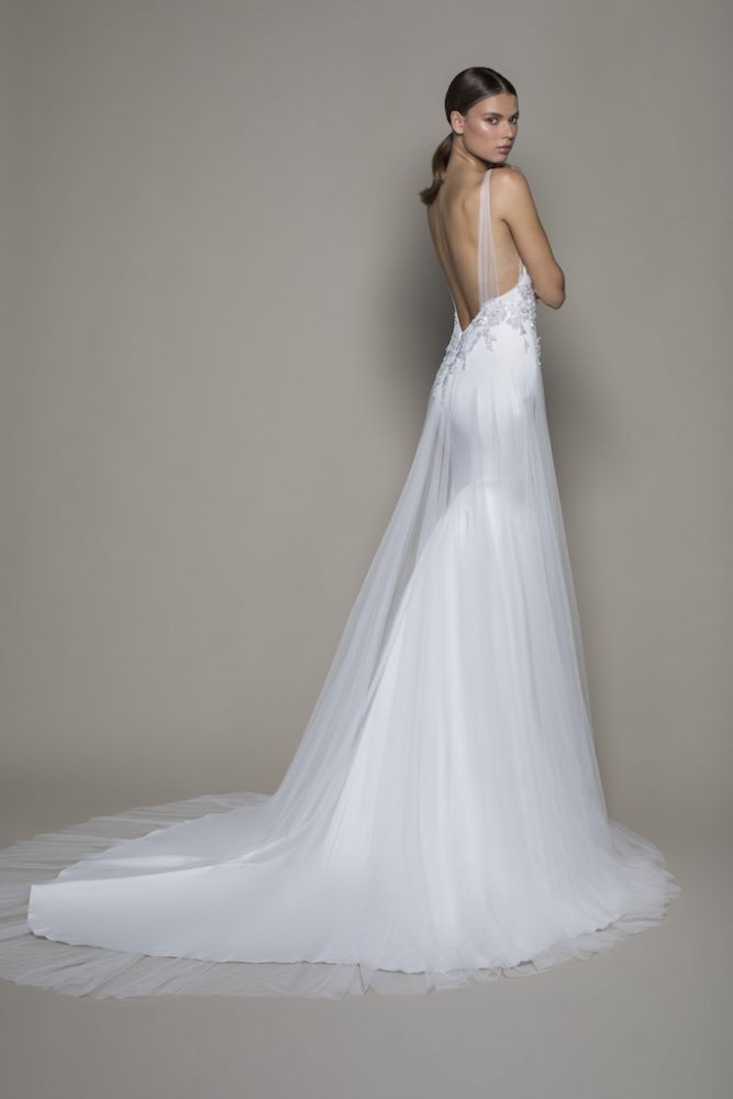 Sleeveless V-neckline Satin Fit And Flare Wedding Dress With Sheer Overlay by Pnina Tornai - Image 2
