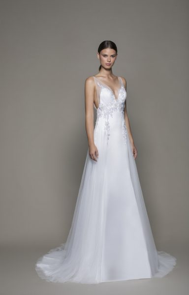 Sleeveless V-neckline Satin Fit And Flare Wedding Dress With Sheer Overlay by Pnina Tornai - Image 1