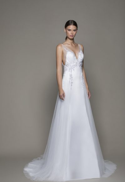 Sleeveless V-neckline Satin Fit And Flare Wedding Dress With Sheer Overlay by Pnina Tornai