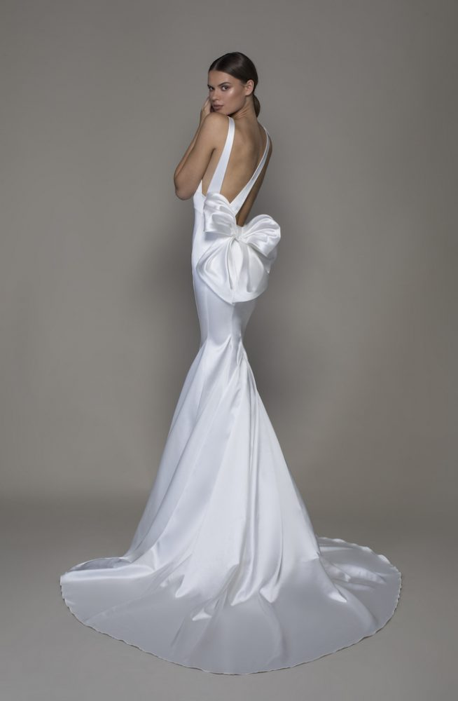 Sleeveless V-neckline Satin Sheath Wedding Dress With Asymmetrical Back by Pnina Tornai - Image 2