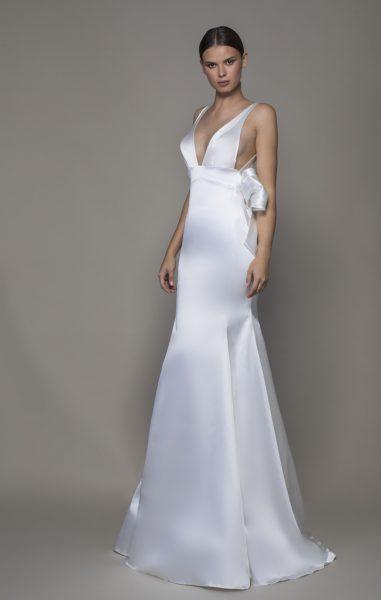 Sleeveless V-neckline Satin Sheath Wedding Dress With Asymmetrical Back by Pnina Tornai - Image 1